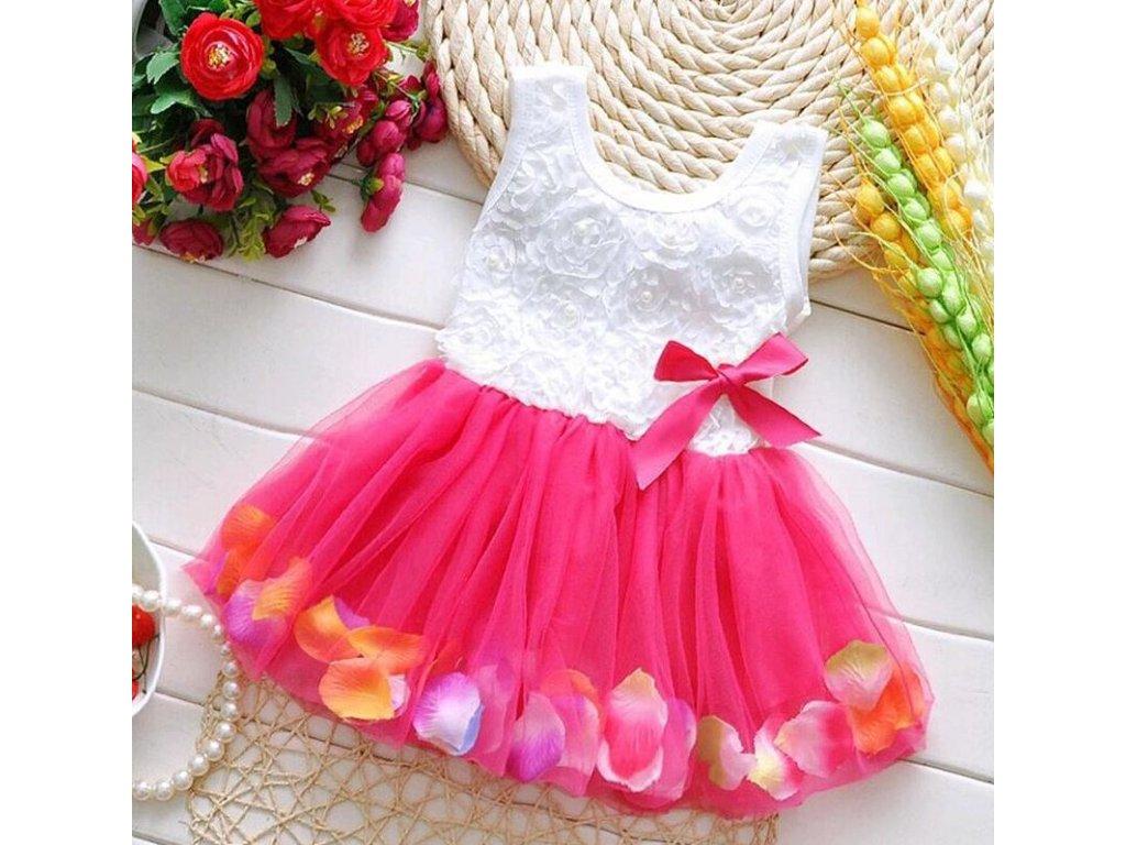 Dětské dívčí společenské šaty růžové s mašličkou na svatbu - FLARO.CZ 451563b491