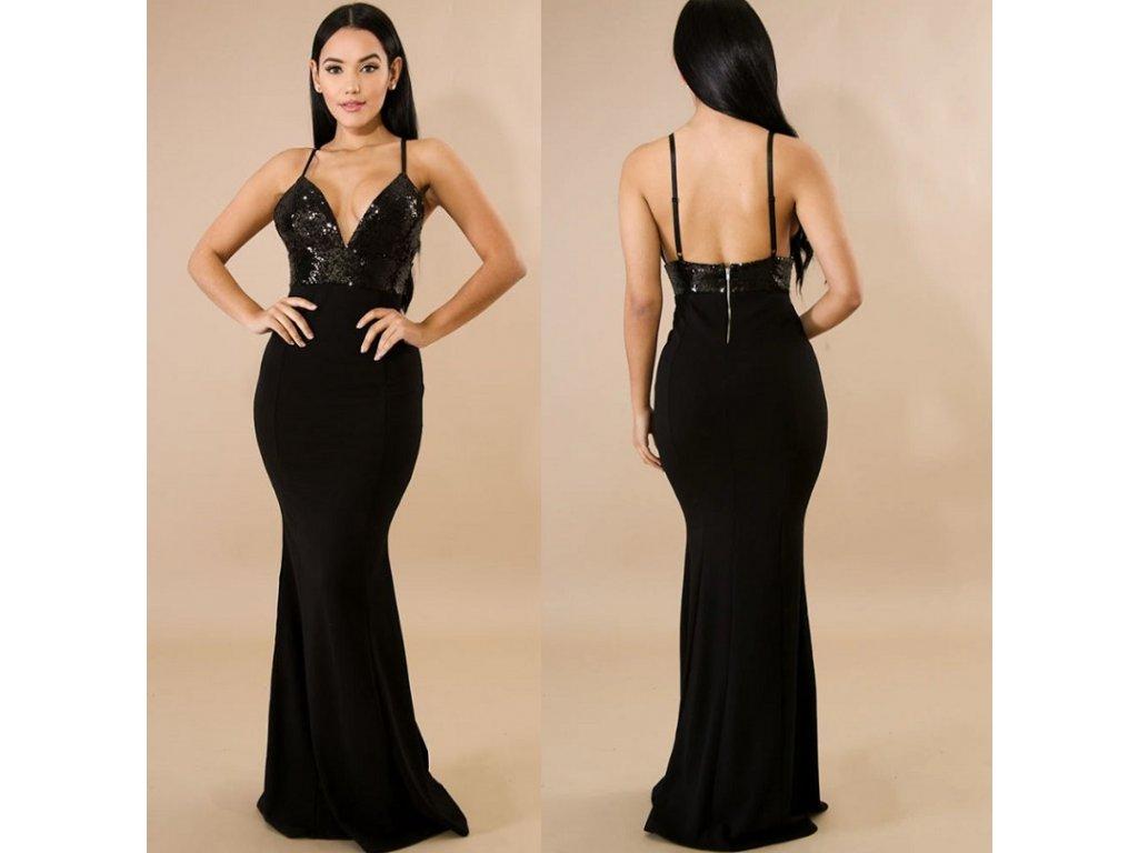 Dámské elegantní společenské plesové večerní šaty černé - FLARO.CZ 431ab7126ba