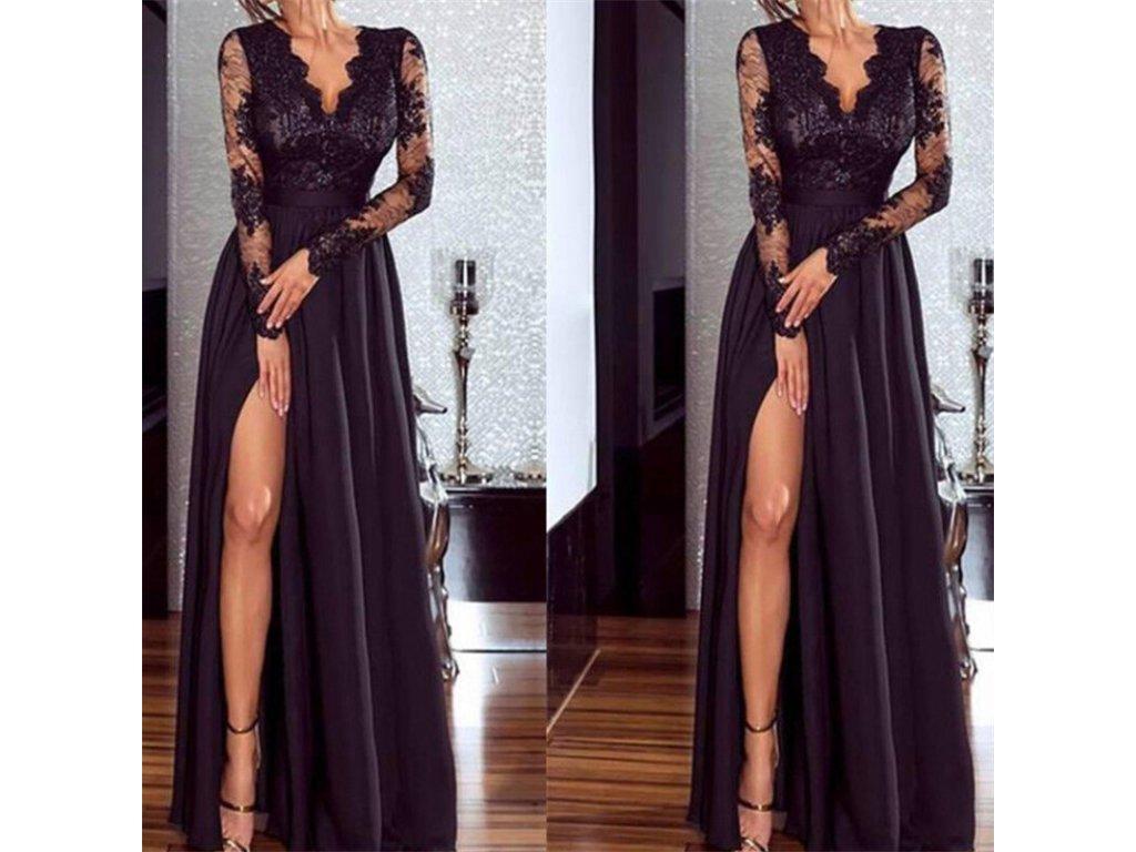Dámské luxusní plesové černé společenské šaty - FLARO.CZ fd6f06d7e7
