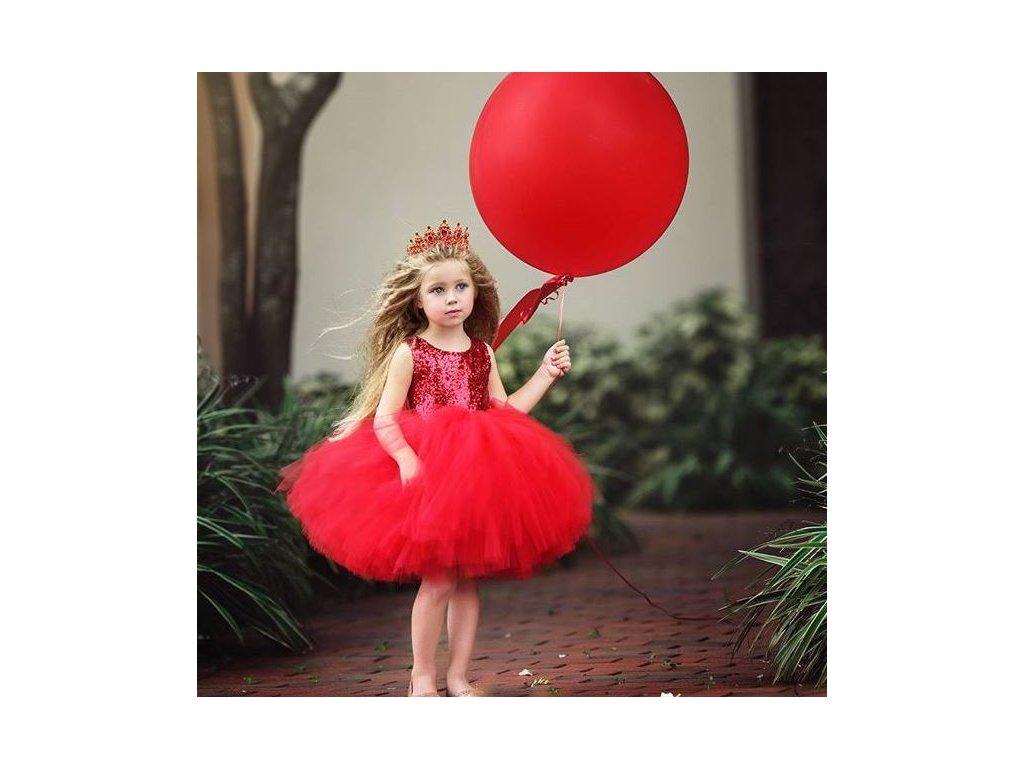 Společenské elegantní plesové šaty tylové pro dívky červené - FLARO.CZ 7f1536d0ebc