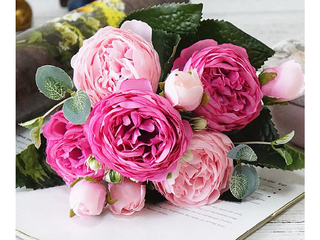 599837758 VÝPRODEJ SKLADU- luxusní umělé květiny pivoňky,více barev- DEKORACE ...