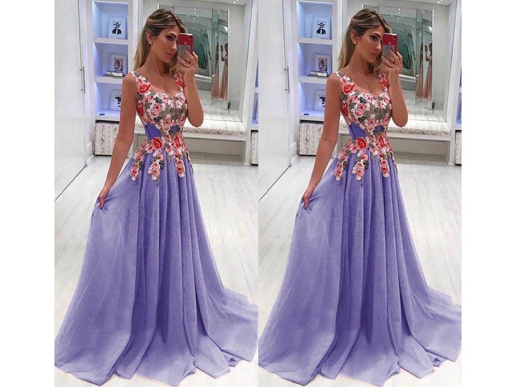 099a57c6fd2 Dámské plesové společenské večerní šaty fialové do tanečních a na svatbu až  4XL
