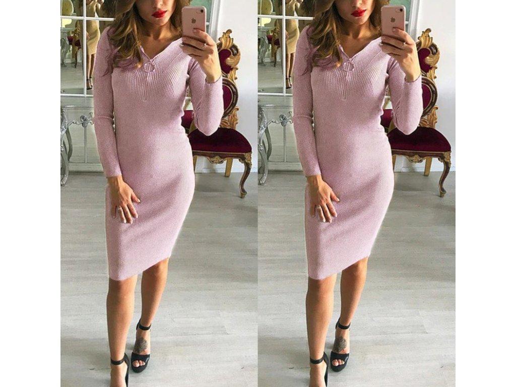 Dámské dlouhé teplé zimní šaty růžové se zipem - FLARO.CZ e399692918