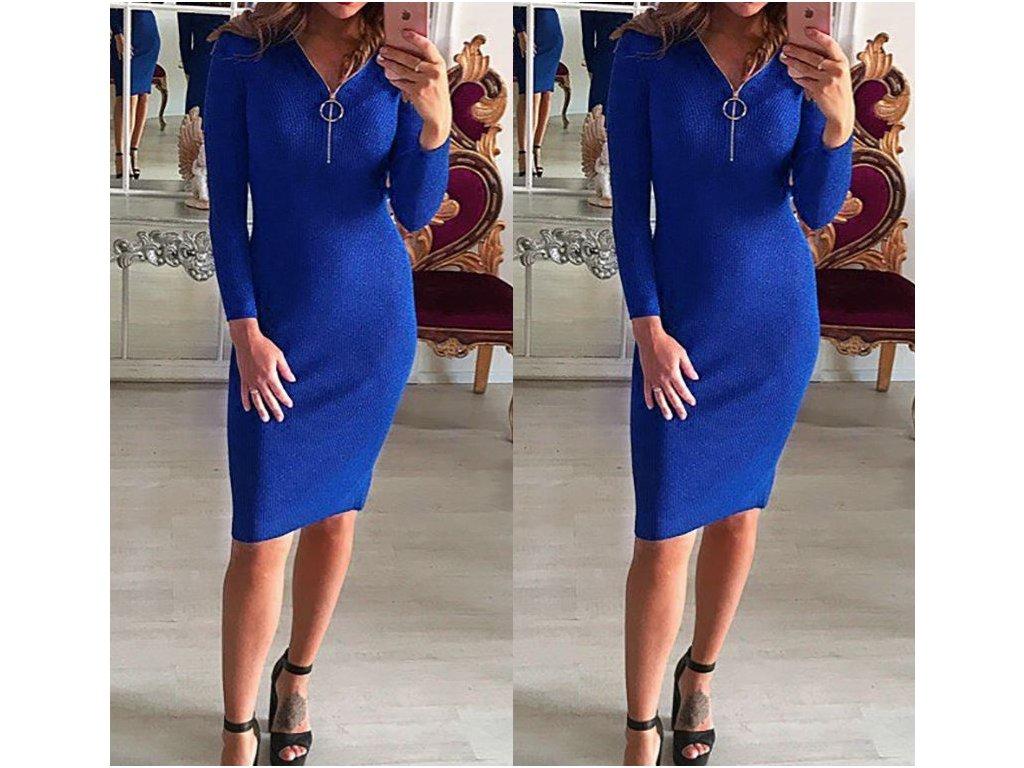 Dámské dlouhé teplé zimní šaty modré se zipem - FLARO.CZ 63a34c7969