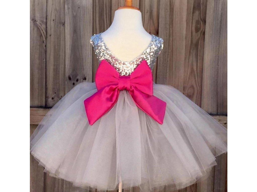 633586683 Společenské plesové šaty tylové s mašličkou a čelenkou pro dívky ...