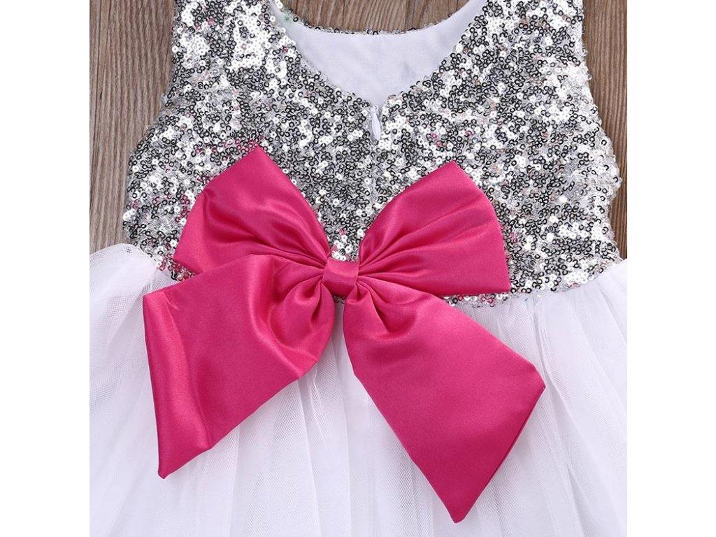 30bc8af61 ... Společenské plesové šaty tylové s mašličkou a čelenkou pro dívky ...