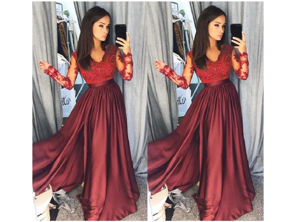 cf11b056a7f Dámské luxusní plesové červené společenské šaty - FLARO.CZ