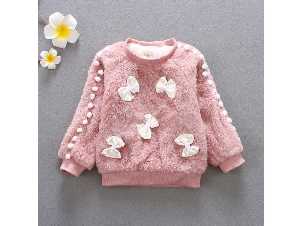 Dětské oblečení- dívčí huňatý teplý svetr růžový s mašličkami- VÝPRODEJ  SKLADU 62bd1b617a