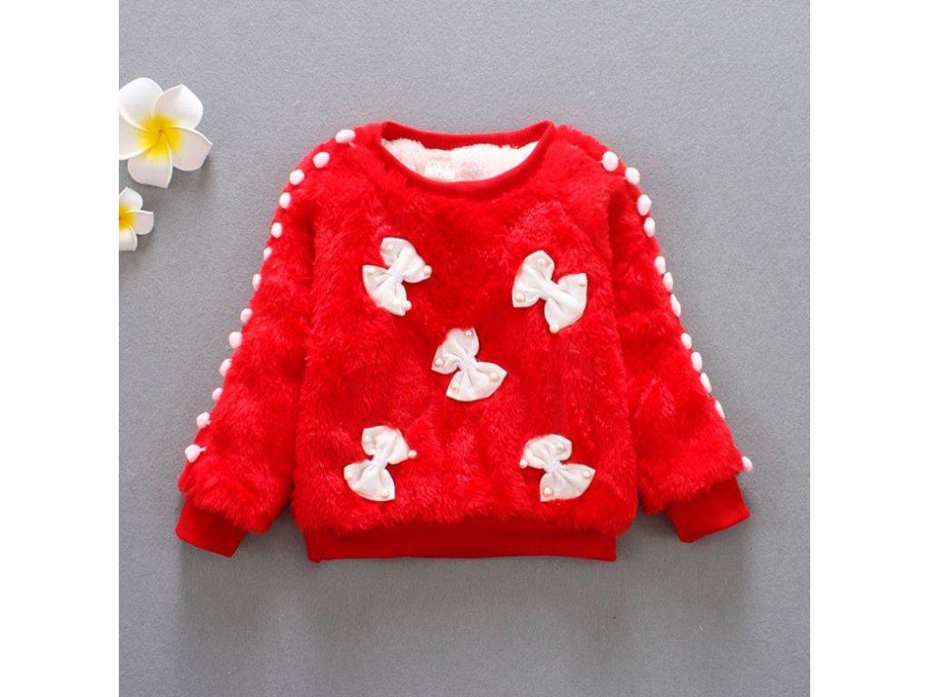 Dětské oblečení- dívčí huňatý teplý svetr červený s mašličkami- VÝPRODEJ  SKLADU 1533444b4c