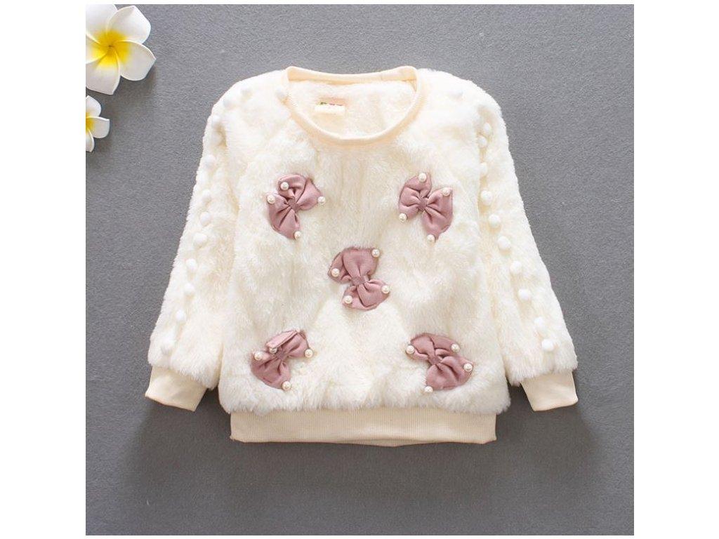 4422eec6d15 Dětské oblečení- dívčí huňatý teplý svetr bílý s mašličkami- VÝPRODEJ SKLADU
