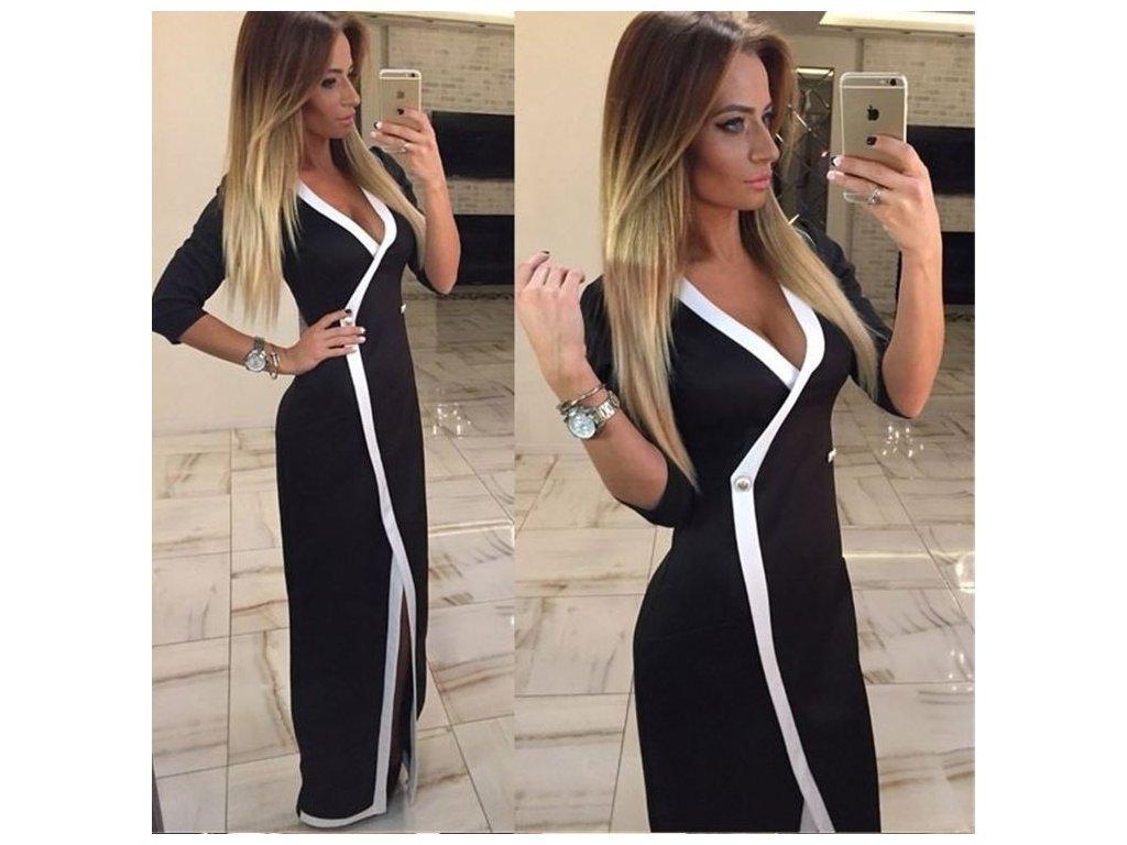 503a8fd4bd37 Dámské luxusní plesové černé společenské šaty extra dlouhé - FLARO.CZ
