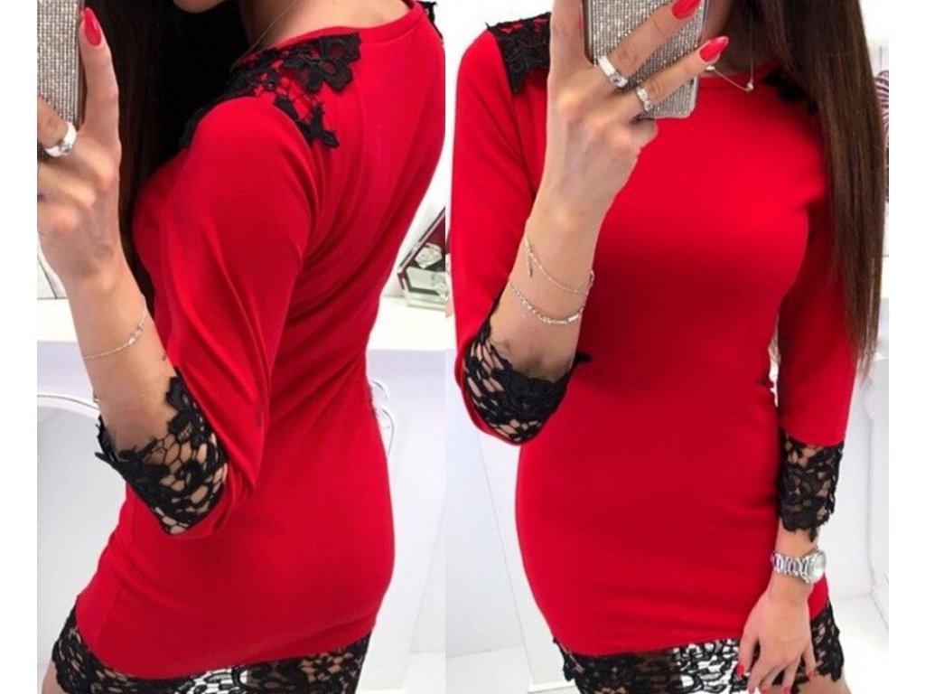 Dámské krátké společenské červené šaty s krajkou NOVINKA - FLARO.CZ 9603e13198