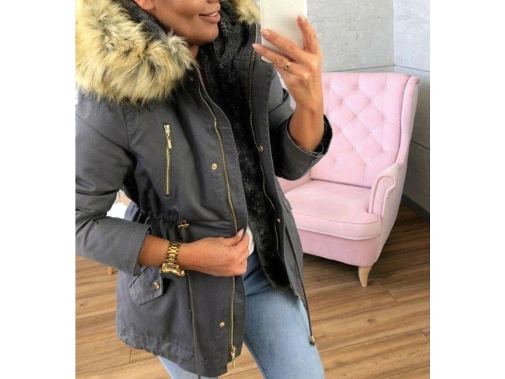 Zimní bunda s kožíškem tmavě šedá pro ženy a dívky až 3XL- SLEVA ... e89c77febd