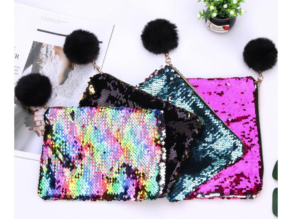 c0e591b8bb Penál nebo kosmetická taška s flitry do kabelky pro dívky více ...