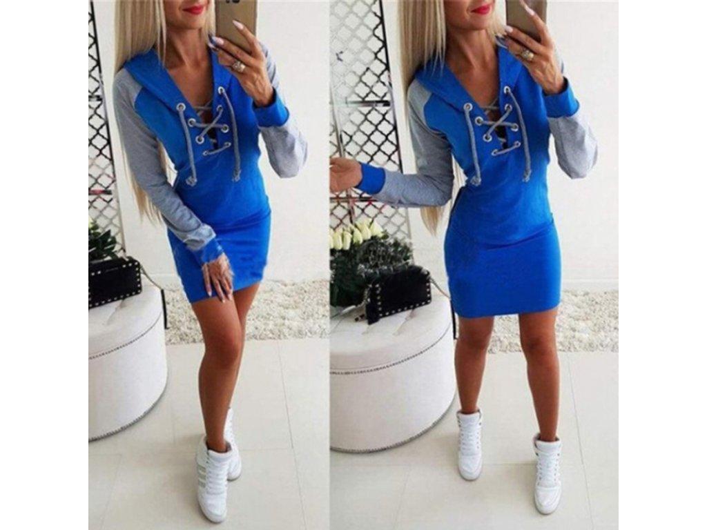 Dámské sportovní letní šaty s kapucí a šněrovacím výstřihem- modré ... c8a71ca99b