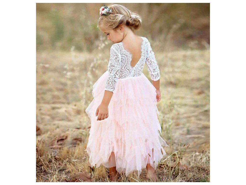 Společenské plesové šaty pro dívky krajkové- růžové 4d36a2ebe1