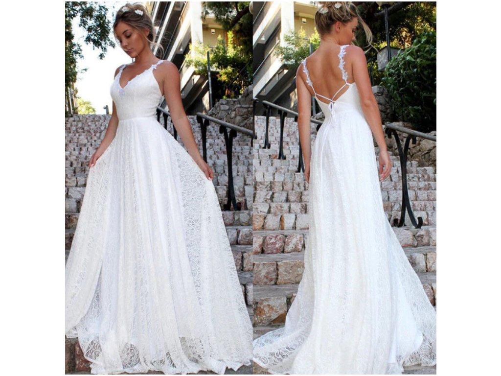 Dámské společenské bílé krajkované šaty večerní na svatbu nebo ples ... b9ca40c503d