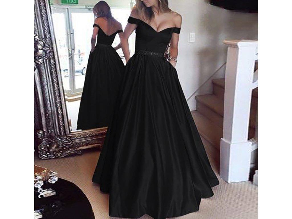 Dlouhé večerní plesové společenské šaty černé na svatbu až 5XL ... eaa4a55845