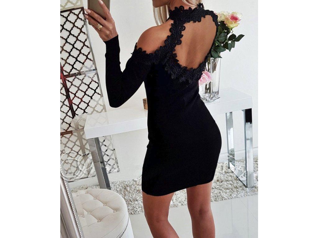 88e14ba18f6 Luxusní slim letní černé šaty s krajkou - FLARO.CZ