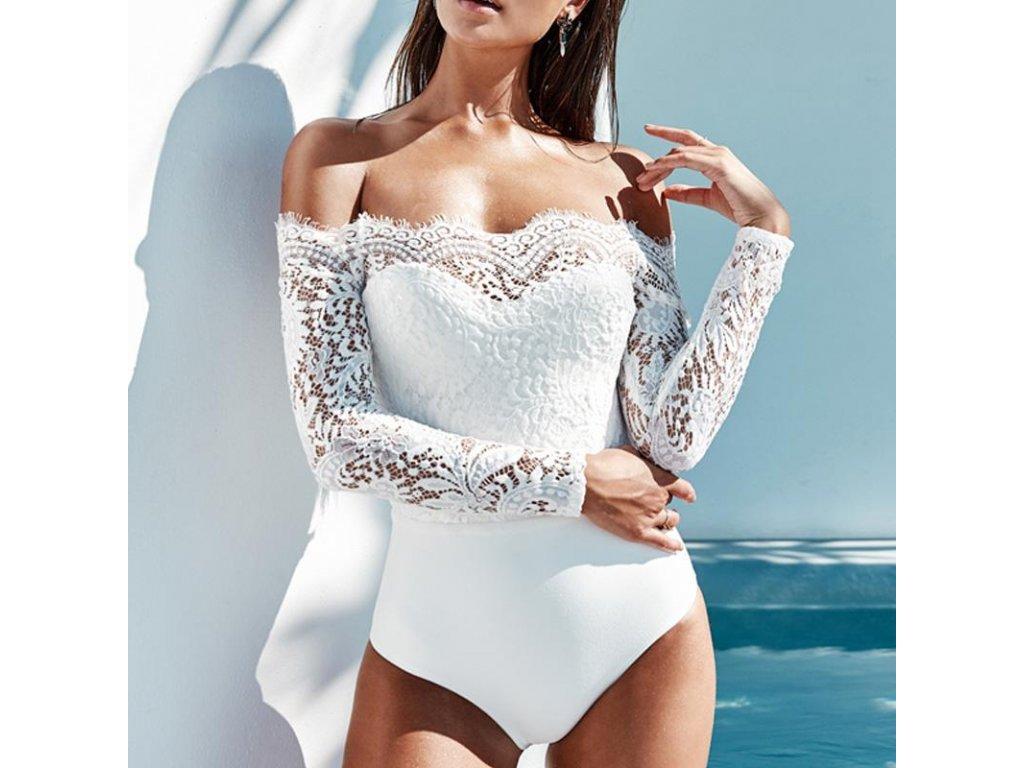 Luxusní spodní prádlo- dámské body s krajkou černé bílé - FLARO.CZ ee9bbb1c54
