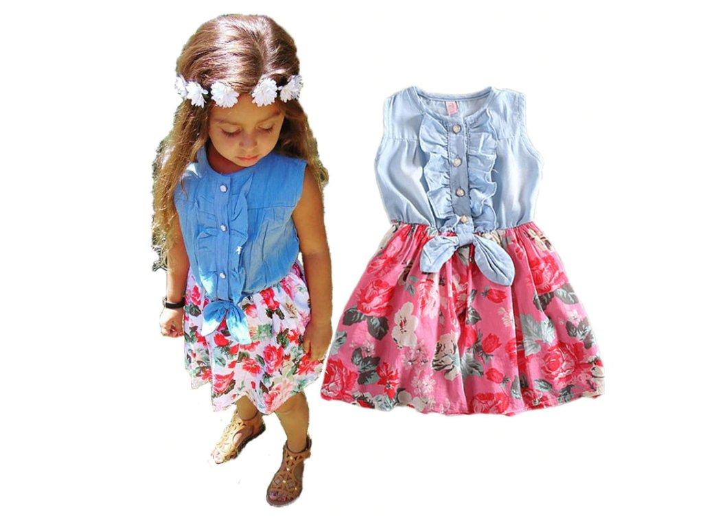 a2ff2dffe84d Dětské oblečení- dívčí letní džínové šaty s mašlí a květy- dvě barvy ...