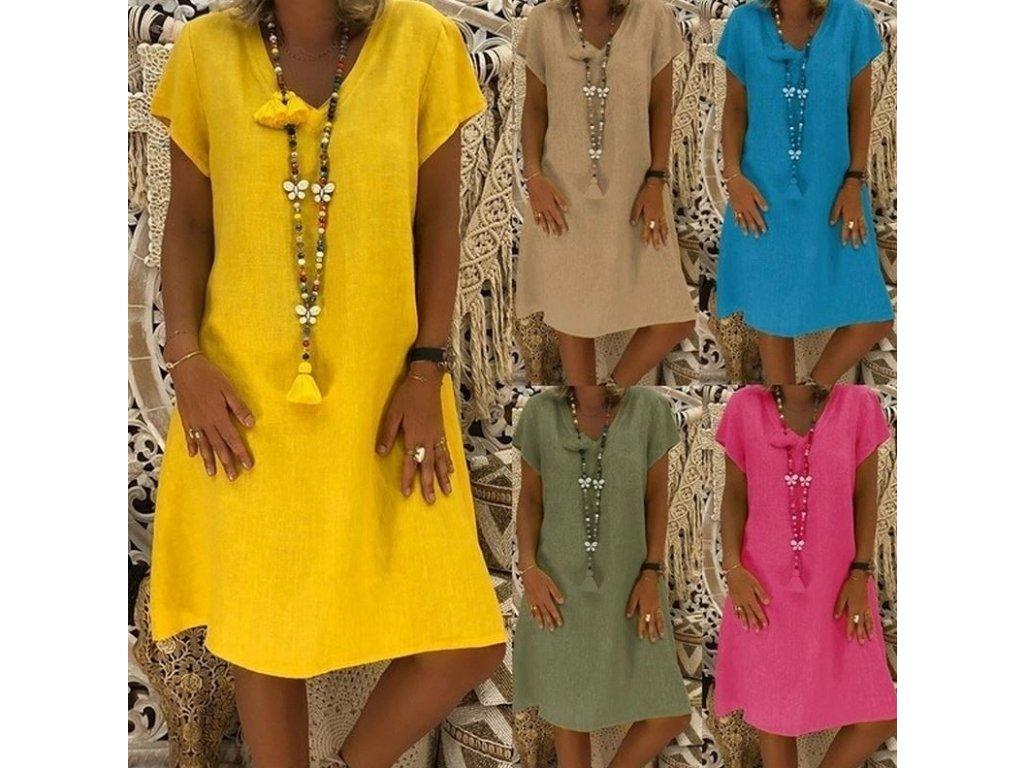 32090f3ae989 Dámské letní plážové košilové šaty až 4XL více barev - FLARO.CZ