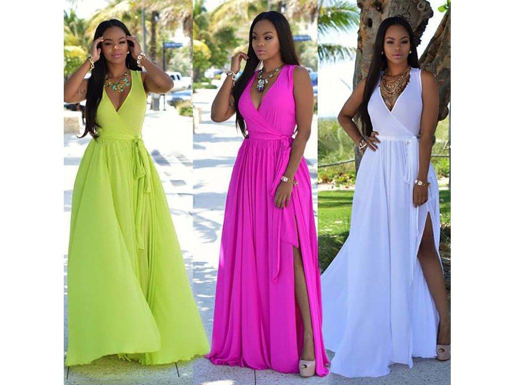 Dámské letní dlouhé společenské šaty více barev AKCE 3c48a238fa