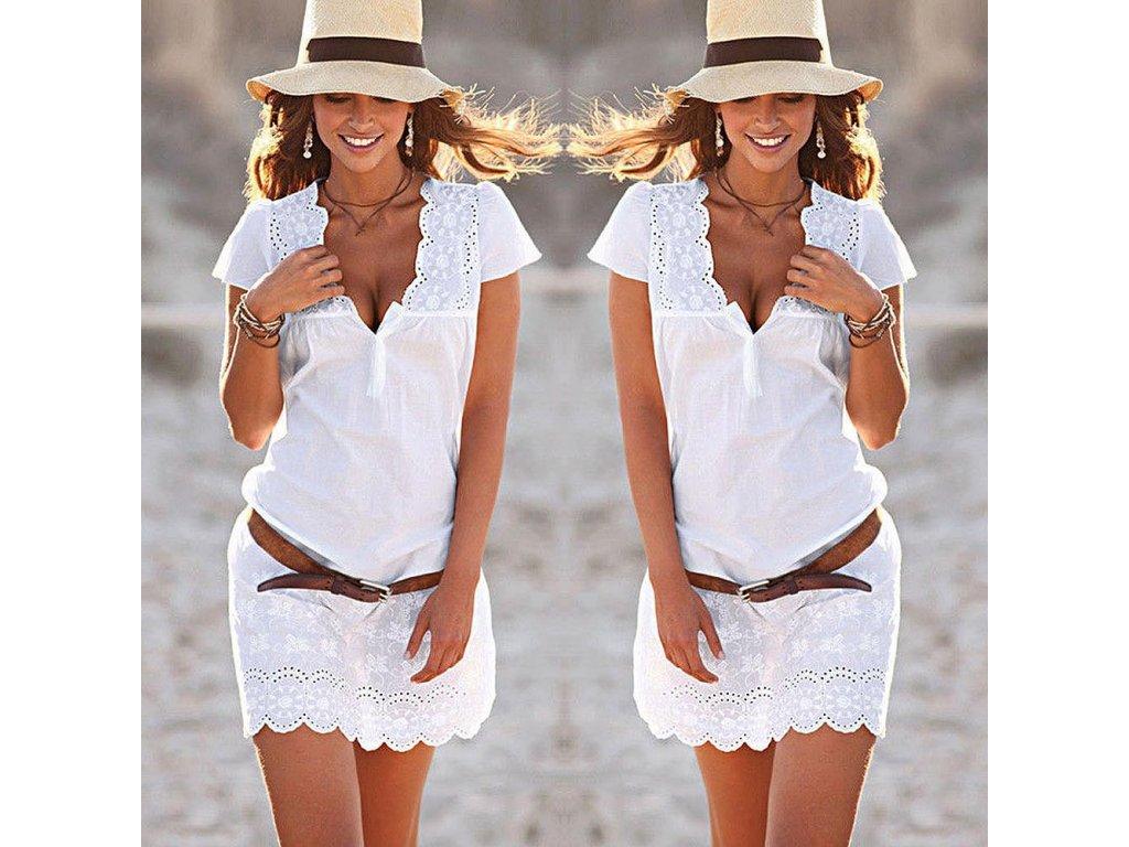 0dff4a224fa2 Dámské letní bílé šaty s krajkou AKCE (Velikost XL)