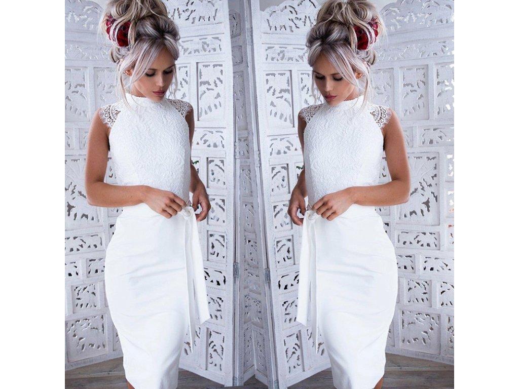 Dámské bílé slim šaty AKCE (Velikost XL) 64ce794dd1