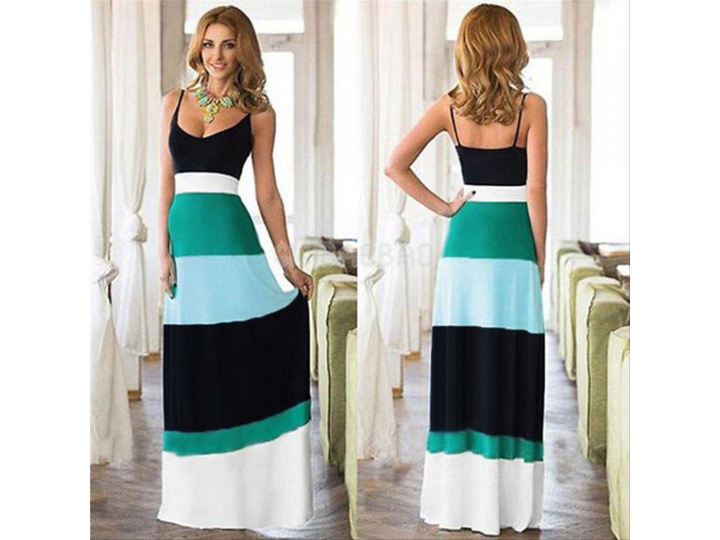 Letní dlouhé pestrobarevné šaty s ramínky NOVINKA (Velikost XL) 6816320c8e