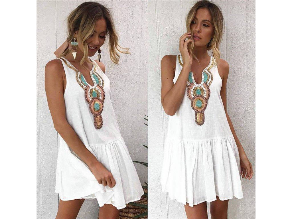 11b567b0402f Bílé letní plážové šaty 2018