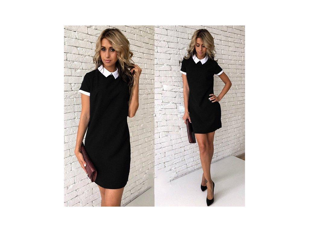 Dámské společenské krátké volné černé šaty s límečkem cd6d85df49