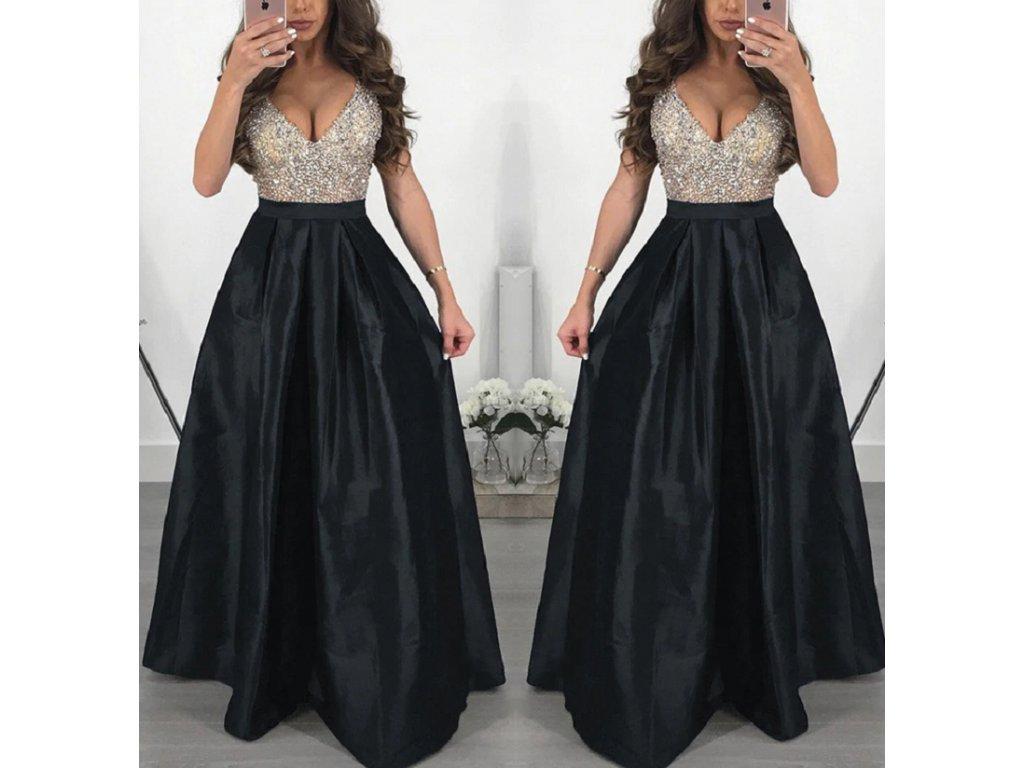 Dlouhé elegantní plesové šaty černé až 3XL NOVINKA - FLARO.CZ e8edac9279