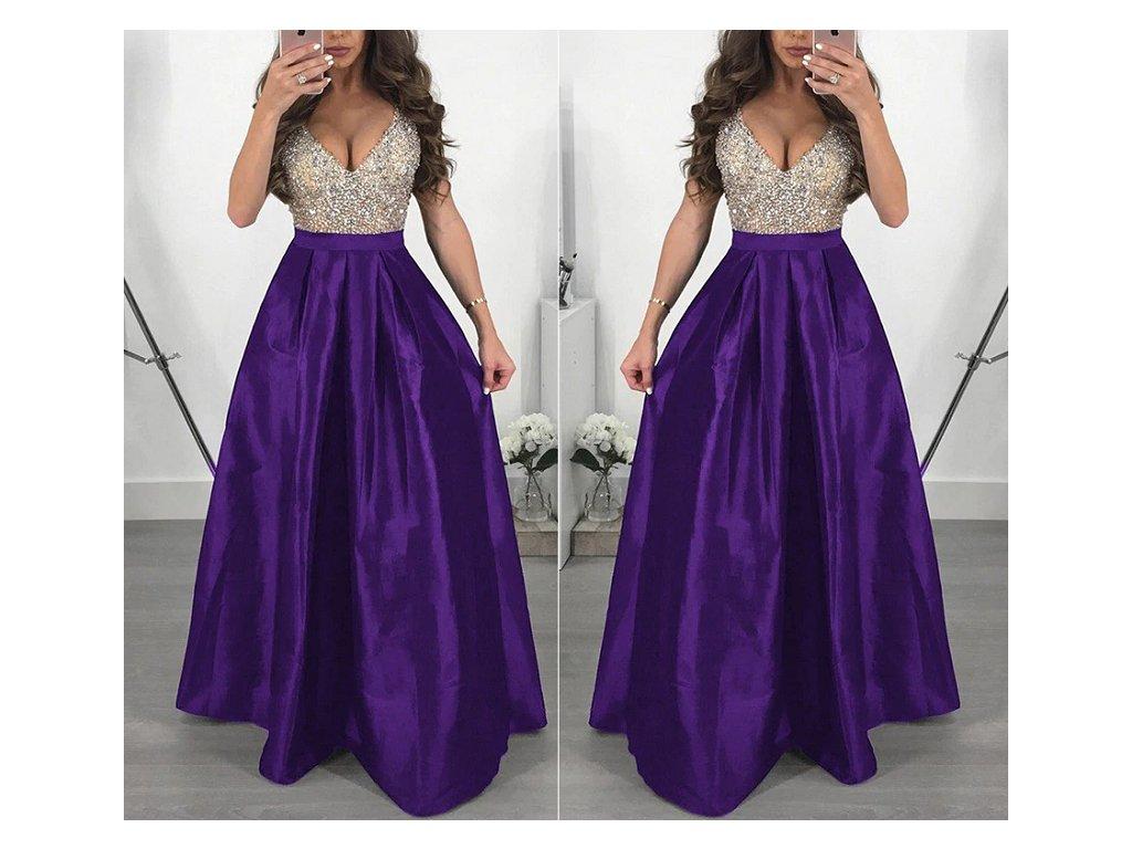 67b2281ce Dlouhé elegantní plesové šaty fialové až 3XL NOVINKA - FLARO.CZ