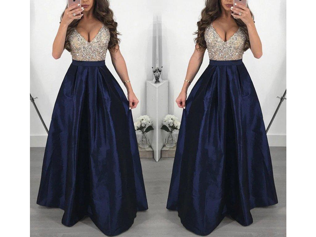 Dlouhé elegantní plesové šaty tmavě modré až 3XL NOVINKA - FLARO.CZ efe13ecc882