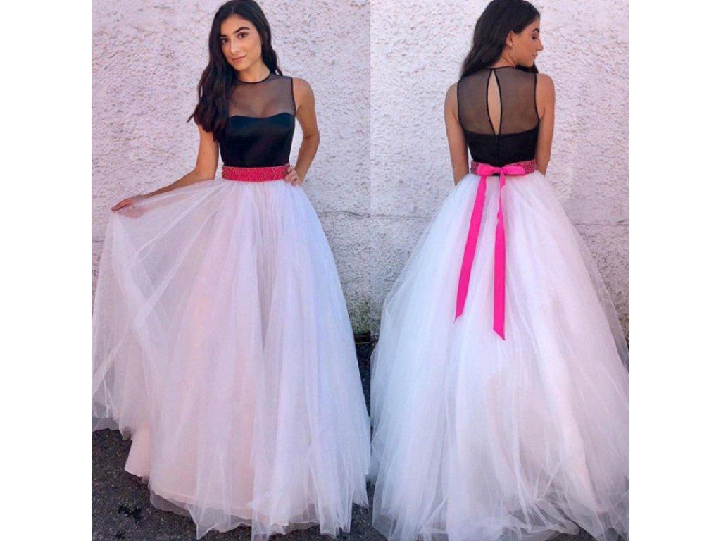 Dlouhé elegantní plesové tylové šaty s mašlí v pase NEW - FLARO.CZ b1dc50435c