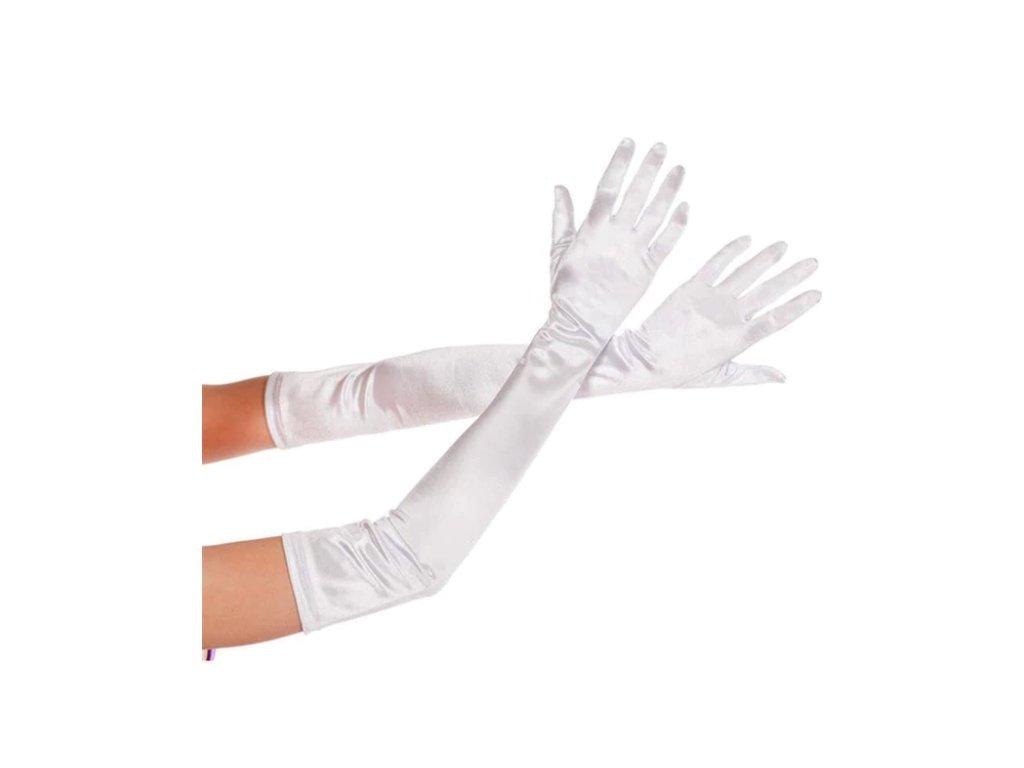 b3f82db2414 Saténové plesové dlouhé dámské rukavice na ples k šatům bílé