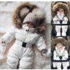 Dívčí bílý zimní overal kombinéza s kožíškem- VÝPRODEJ SKLADU