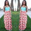 Dámské extra dlouhé vzorované šaty s tyrkysovým vrškem (Velikost XXXL)