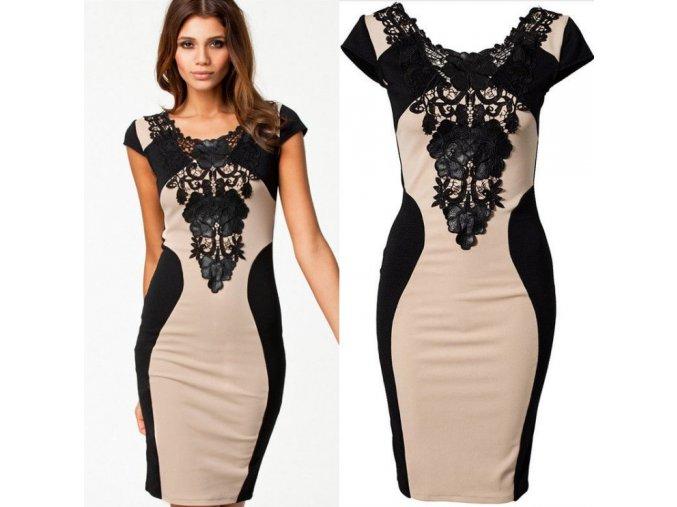 Elegantní  dámské šaty s krajkou khaki+ DOPRAVA ZDARMA (Velikost XL)