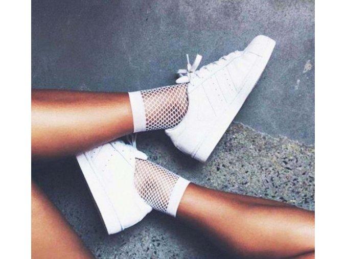 Pro ženy- bílé síťované ponožky silonky