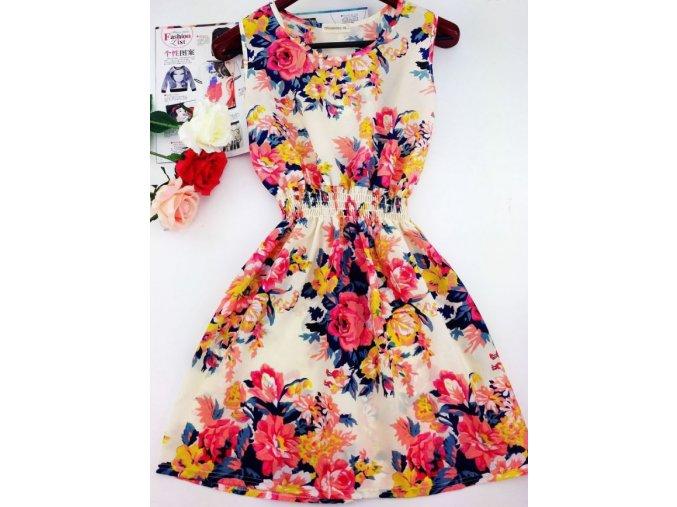 Letní krásné šaty se vzorem květin (Velikost S)