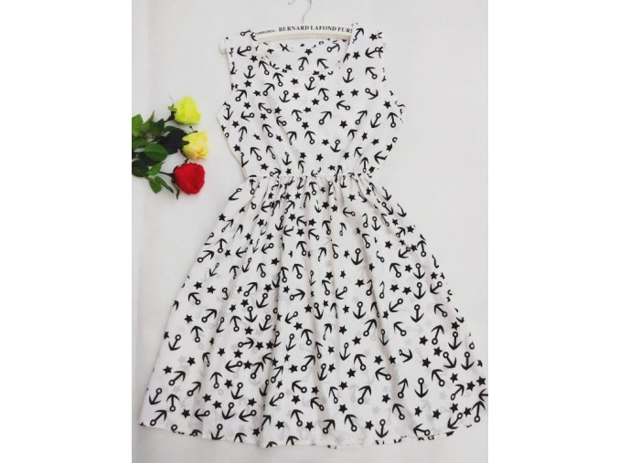 Letní šaty se vzorem kotviček bílé (Velikost S)