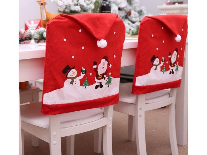 Vánoční dekorace- Potah na židli Santa-  VÝPRODEJ SKLADU