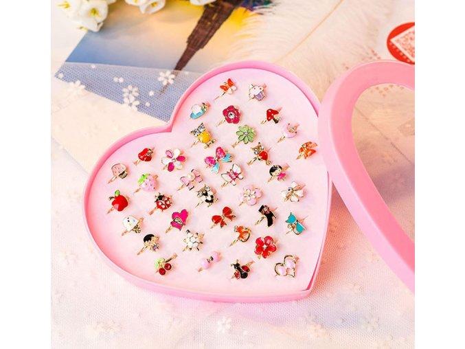 Pro dívky- sada prstýnky 10ks - Vhodný jako dárek k Vánocům