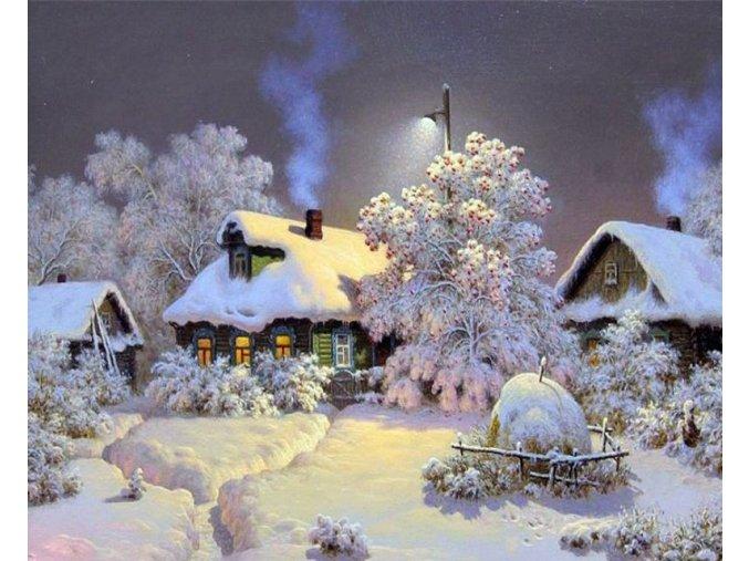 Malování podle čísel na plátno ZIMA-  Vhodný jako dárek k Vánocům