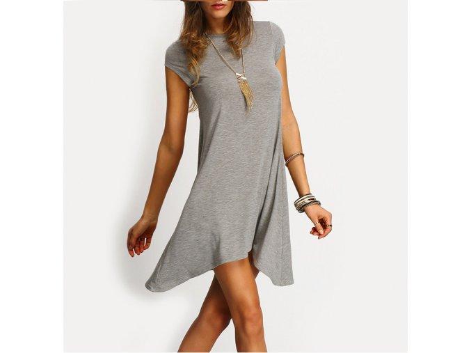 Stylové dámské luxusní asymetrické šedé šaty + DOPRAVA ZDARMA (Velikost S)