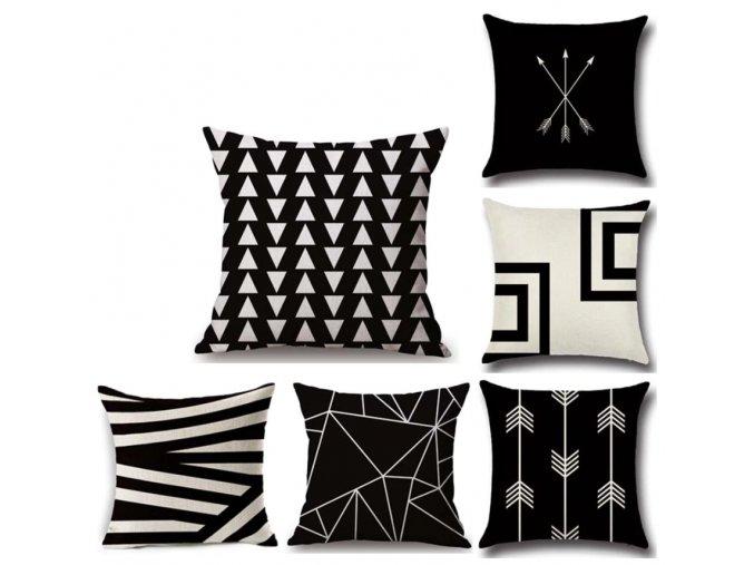 Moderní černobílý povlak na polštář 45x45 ve více variantách
