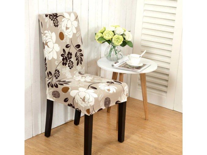 Univerzální elastický potah na židli- kávový květ