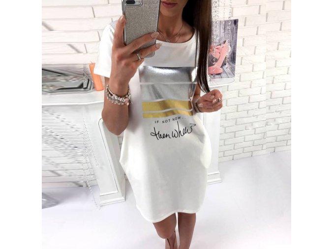 Dámské stylové mini bílé šaty IF NOT NOW (Velikost XXXL)